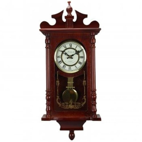 Bedford Collection Redwood 25 in. Wall Clock with Pendulum & Chime