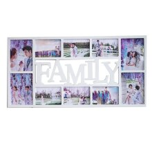 Family 10 Multi Aperture Photo Picture Frame Holds Photo Black White