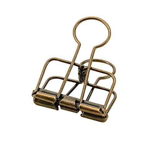 Eforlike Color Hollow Out Paper Binder Clip Invoice Bill Clip Office Supplies Pack of 10 (S Bronze)