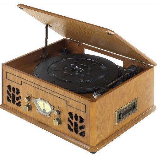 iTek I60011 4-in-1 Antique Record, CD, Cassette/Radio Player AM/FM