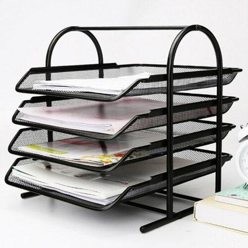 Metal Filing Letter Trays Stacking Office Desk Paper Document Organiser 4-TierUK