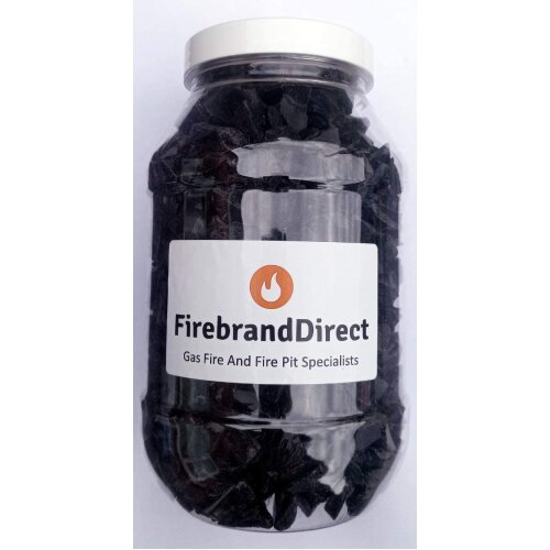 Firebrand Direct Black Fire Glass 1kg - For Fire Pits, Gas Fires And Ethanol Burners. Sparkling Heat Resistant Glass