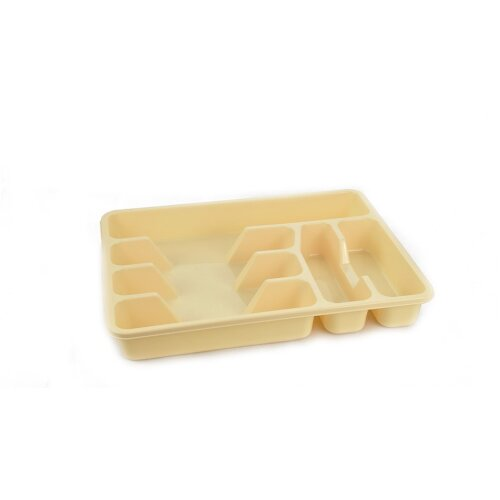 (Cream) Plastic Kitchen Cutlery Organizer Tray