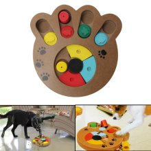 Pet Dog Wooden Game IQ Training Toy Interactive Food Dispensing Puzzle