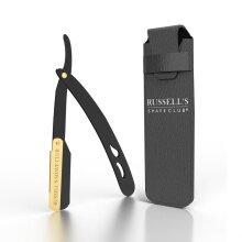 Cut Throat Razor Black & Gold - Includes Travel Pouch & 10 Blades