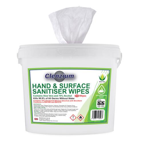 Hand & Surface Sanitiser Wipes, Aloe Vera & 70% Alcohol, 550 Wipes