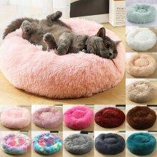 Cats Pet Dog Bed Soft Plush Round Nest Mattress Sleeping Fluffy Fur Donut Pad