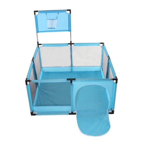 (Blue) Baby Playpen with Round Zipper Door Play Pen for Toddlers Safe Indoor
