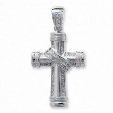 Large Cross Pendant CZ Set Cross Pendant Sterling Silver Cross 59 x 32mm