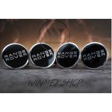 Set of 4 Black Range Rover alloy wheel caps 63mm