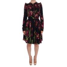 Black Silk Stretch Purple Tulip Sheath Dress