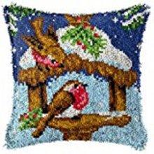 "Latch Hook Complete Cushion Cover Kit""Winter Robins Feeding""43x43cm"