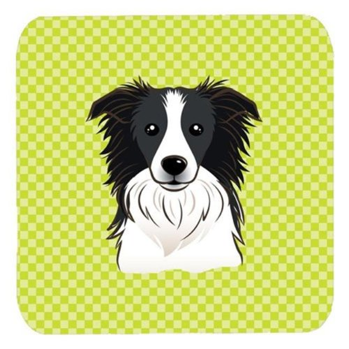 3.5 x 3.5 In. Checkerboard Lime Green Border Collie Foam Coasters, Set Of 4