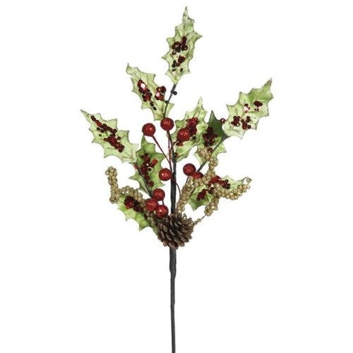 Vickerman L161588 Holly, Berry & Sequin Floral Spray - 22 in. - 4 Per Bag