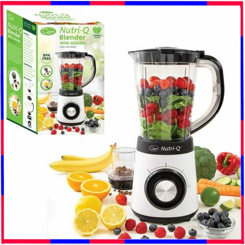 Nutri-Q Blender with Grinder for Nuts and Seeds, Chop Mix Blend White 34790