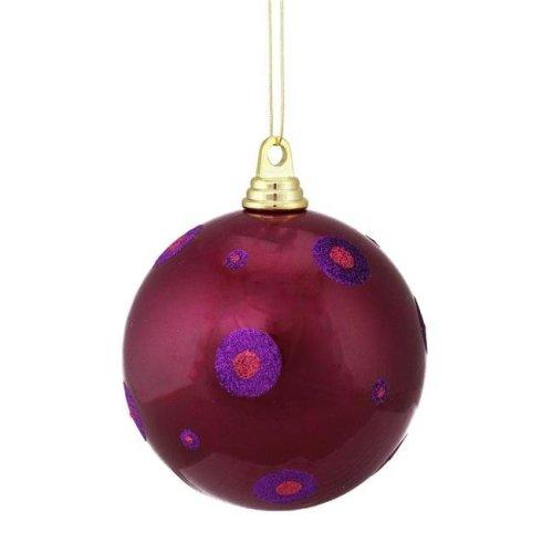 Vickerman M144280 Cerise-Purple Polka Dot Ball Ornament - 6 in.