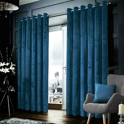 """(Blue, 46"""" x 54"""" (116cm x 137cm)) Blackout Crushed Velvet Curtains Eyelet Ring Top Ready Made Lined Pair Curtains"""