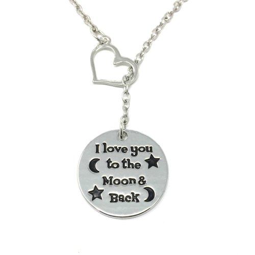 Silver-Tone I Love You to The Moon and Back Engraved Pendant Necklace 2.5cm Diameter with 18 Inch Chain
