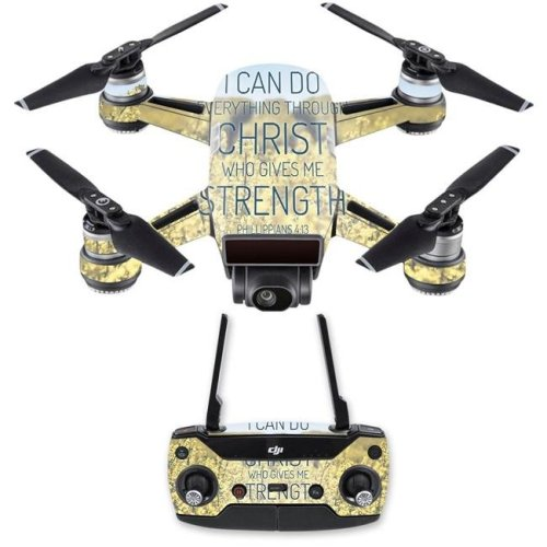 MightySkins DJSPCMB-Through Christ Skin Decal for DJI Spark Mini Drone Combo - Through Christ