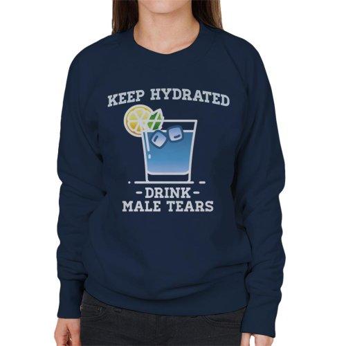 (Small, Navy Blue) Anti Men Keep Hydrated Drink Male Tears Women's Sweatshirt