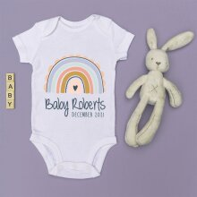 Personalised Baby Grow - Pastel Rainbow - Pregnancy Announcement