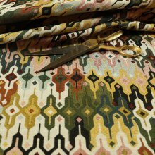New Multi Coloured Full All Over Geometric Pattern Jacquard Upholstery Fabrics - Sold By The 1 Metre Length Fabric Sold By Metre