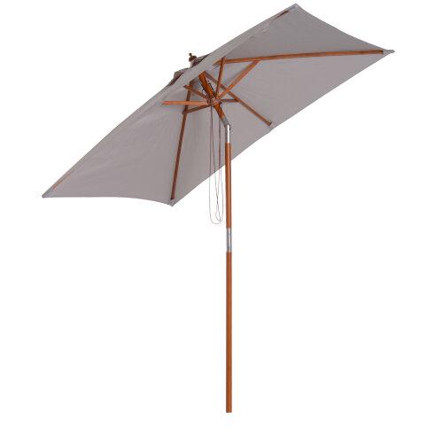 Outsunny 2x1.5m Wooden Patio Umbrella Parasol Outdoor Sunshade 6 Ribs Grey