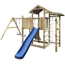 vidaXL Playhouse Set with Slide, Ladder and Swings 516x450x270 cm Wood