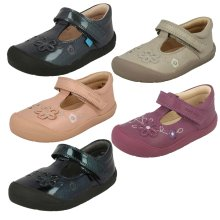 Girls Startrite Flower Detail Flat Shoes First Mia - F Fit