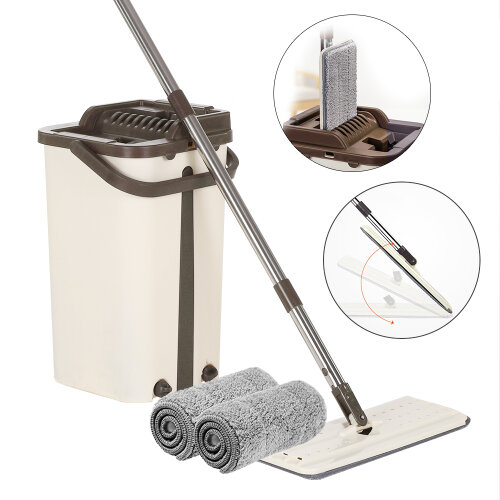 360° Flat Squeeze Microfiber Mop and Bucket Set 2 Cleaning Pads