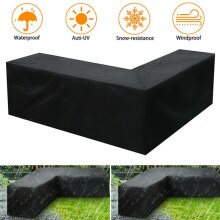 Waterproof L Shape Rattan Corner Furniture Cover Outdoor Sofa Bench Protector