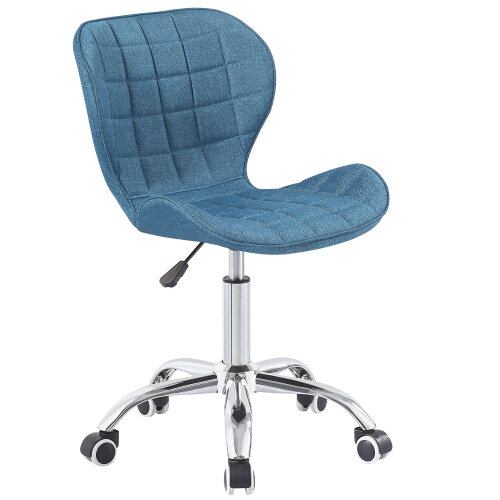 (Blue Fabric) Charles Jacobs Adjustable Swivel Chair   Office Chair With Chrome Wheels