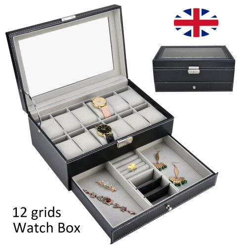 12 Grid Jewelry Watch Box Mens Jewelry Display Drawer Tray Glass PU