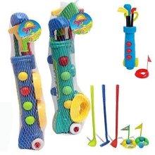 Kids Golf Club Set Garden Plastic Toy Cart Caddy Balls Bag Summer Beach Outdoor