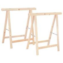 vidaXL Pinewood 2x Folding Sawhorses Cutting Stand Saw Trestle Wood Tool