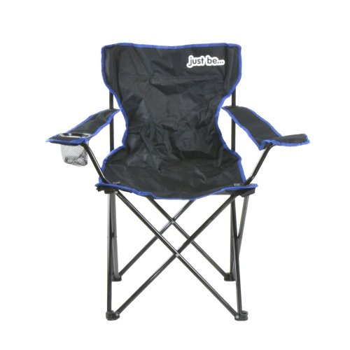 just be...® Folding Camping Chair - Black with Blue Trim