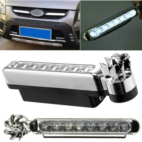 2x Car Daytime Running Wind Power 8 LED Light Fog Light Car DRL Driving Lamp