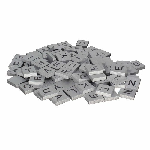 Wooden Tiles Printed Alphabets & Numbers Replacement Letter Tiles, Silver, 100pcs