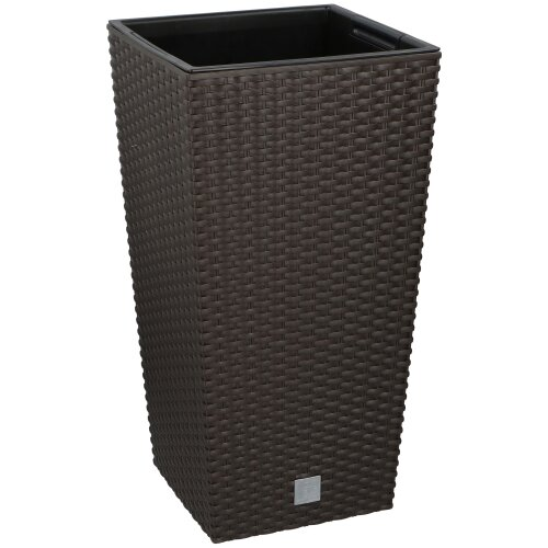 (Brown , 1) Square Elegant Tall Large Plant Pot Indoor Outdoor [Large]