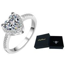 three prong heart shape faux diamond ring 925 silver rings
