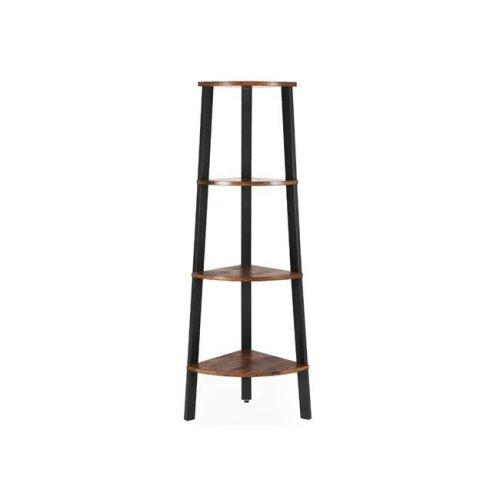 Benjara BM195830 Four Tier Ladder Style Wooden Corner Shelf with Iron Framework - Brown & Black - 13.4 x 13.4 x 49.2 in.