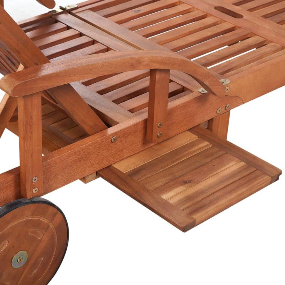 vidaXL Solid Acacia Wood Sun Lounger Brown Backyard Outdoor Lounge Day Sun Bed