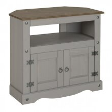 Corona Grey Wax Corner TV Unit Solid Wood Pine Living Room Furniture