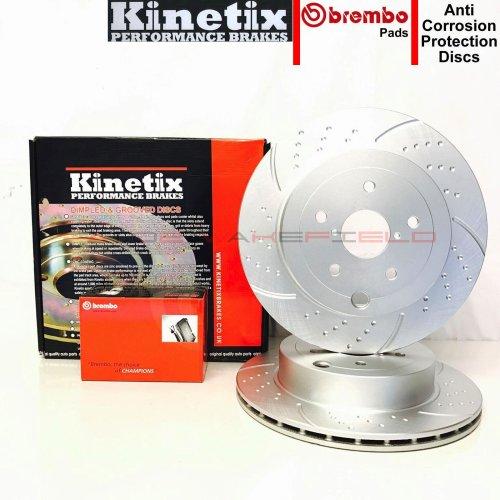 FOR SUBARU IMPREZA 2.5 WRX STI FRONT PERFORMANCE BRAKE DISCS BREMBO PADS 114PCD