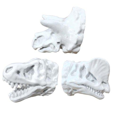 3Pcs White Resin Simulation Dinosaur Head Fossils Drawer Knobs