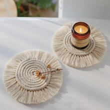 Northern Europe Macrame Cup Pad Bohemia Tablecloth Table Mat Pure Handmade Cotton Braid- Non-slip Insulation Mats For Kitchen