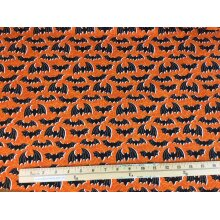 Fat Quarter Night Flight Halloween Bats On Orange 100% Cotton Fabric
