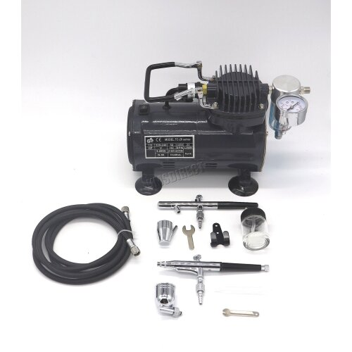 Switzer AS18 Airbrush With Compressor - Double Action Air Brush Spray Kit Paint