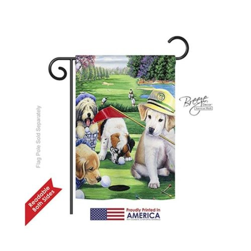 Breeze Decor 60082 Pets Golfing Puppies 2-Sided Impression Garden Flag - 13 x 18.5 in.