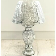 Silver Glitter Crushed Diamond Table With Lamp Shade Ornament Home Diamante